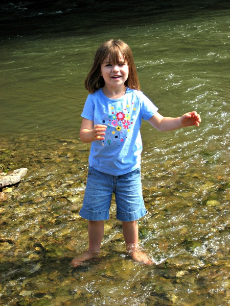 splashing in Middle River, Pammel State Park, Winterset, Iowa