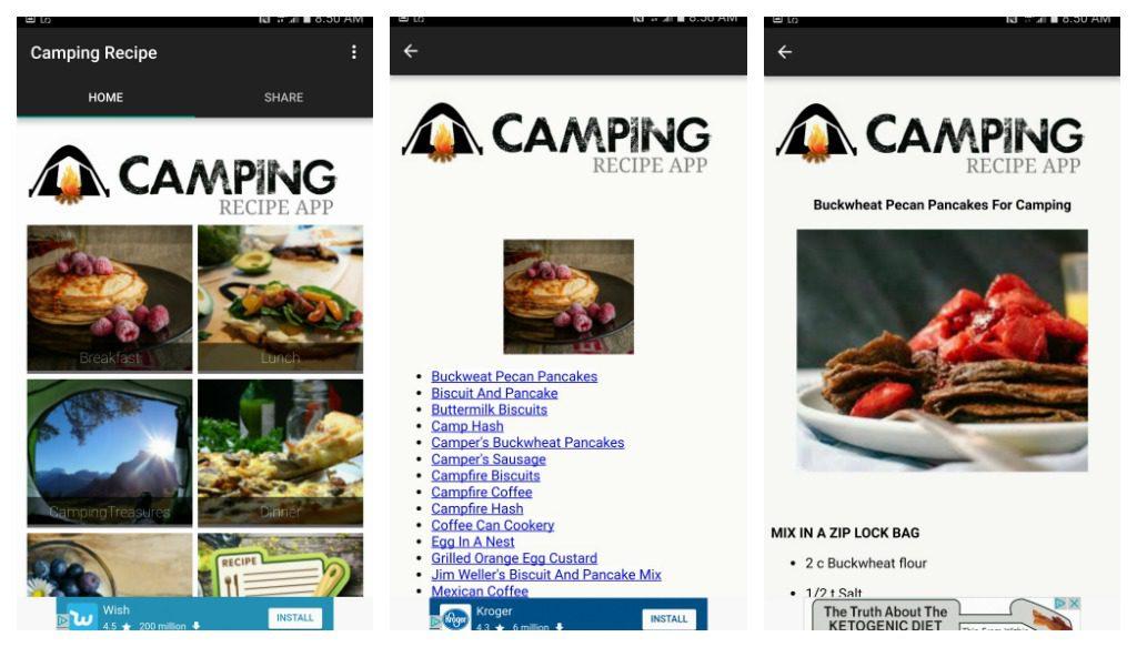 Camping Recipe App