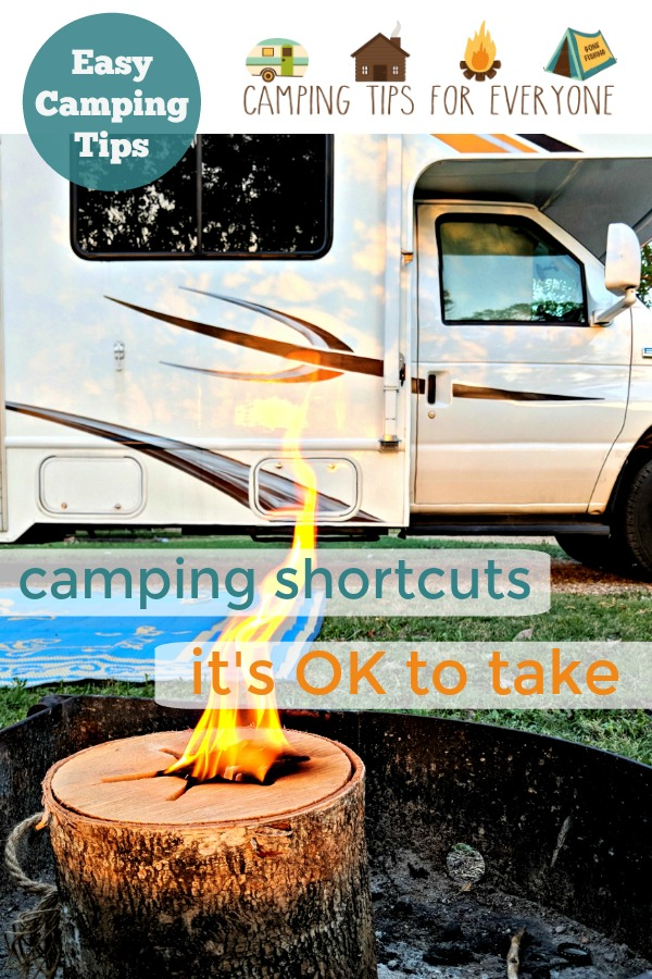 RV and bonfire log. Easy camping tips.