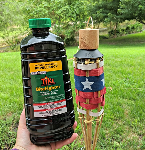 repel insects camping tips- tiki torch and bug repellent fuel