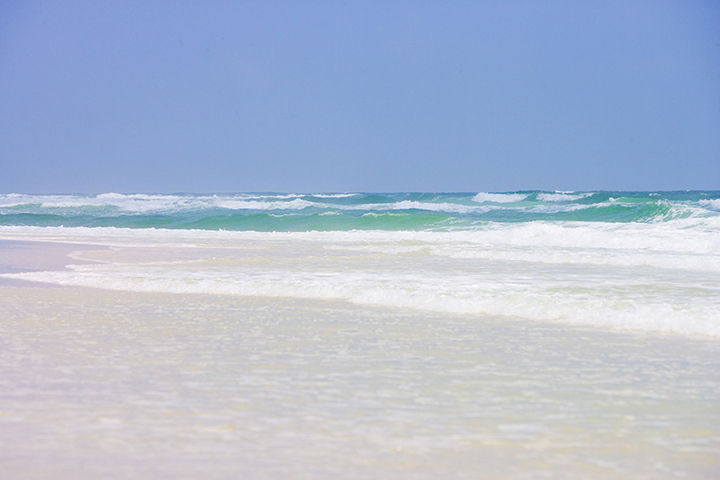 view of the shoreline in Gulf Shores, Alabama. Photo provided by Gulf Shores & Orange Beach Tourism