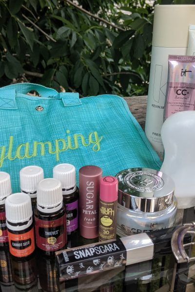 skin care and makeup to take camping