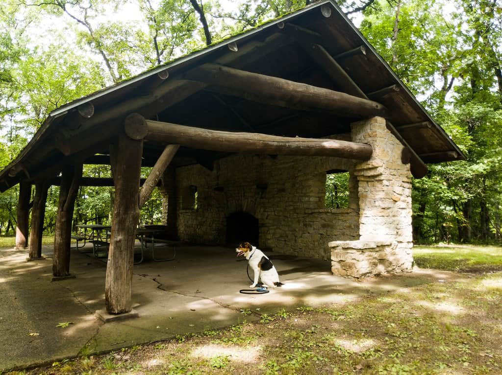 Backbone Shelter, built by the CCC. Pammel State Park, WInterset, Iowa