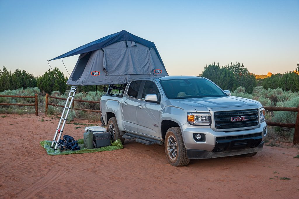 rooftop tent set up on truck