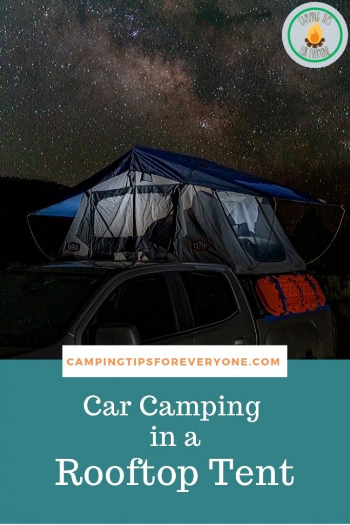 car camping in a rooftop tent
