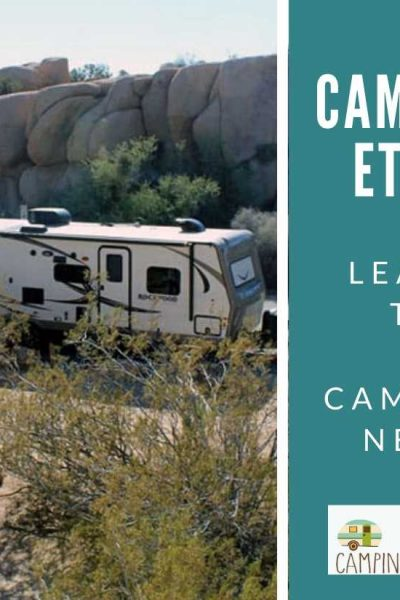 camping trailer in desert campground