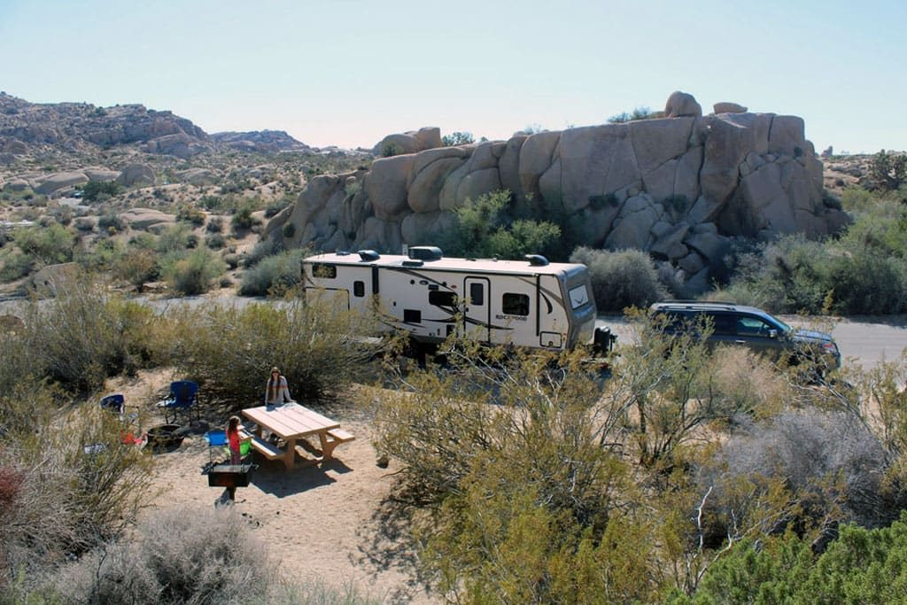travel trailer in desert campground