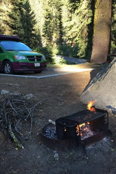 vanlife jucy mini rv at a California campground