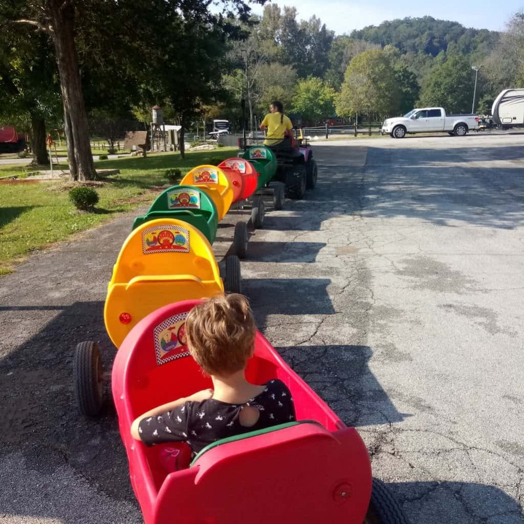 Train ride for kids at KOA Holiday campground
