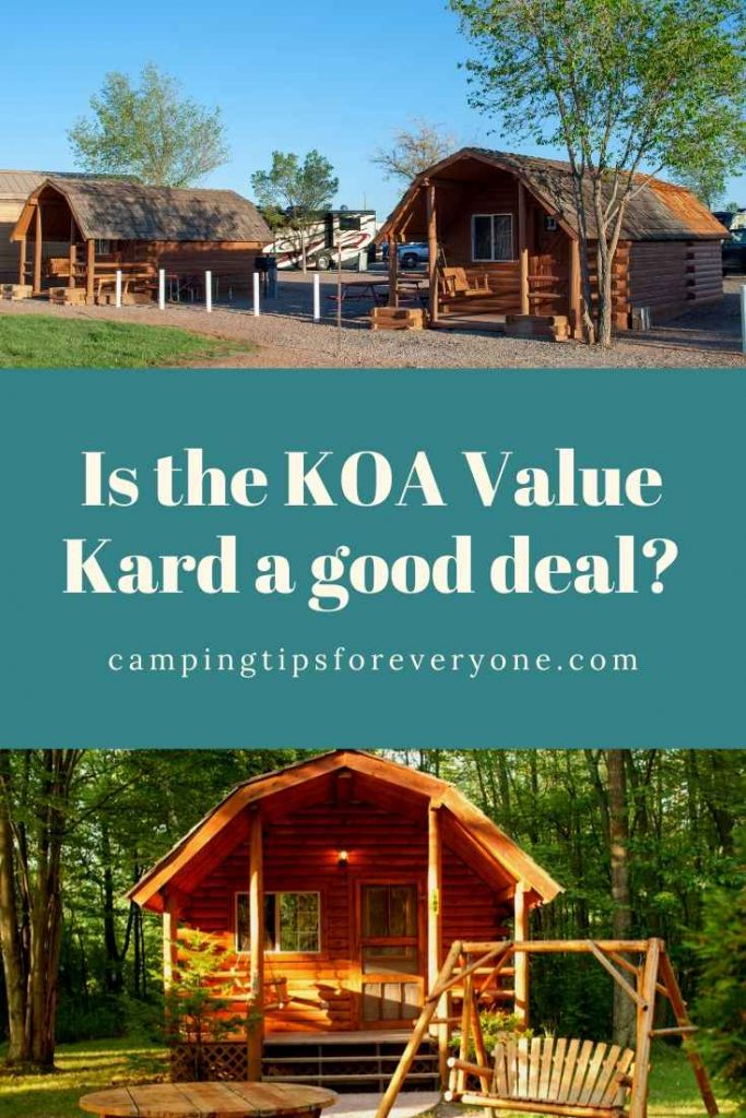 KOA camping cabins, save money with KOA rewards card