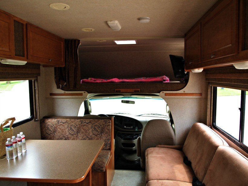 Class C RV Interior. First RV trip tips. Camping Tips for Everyone