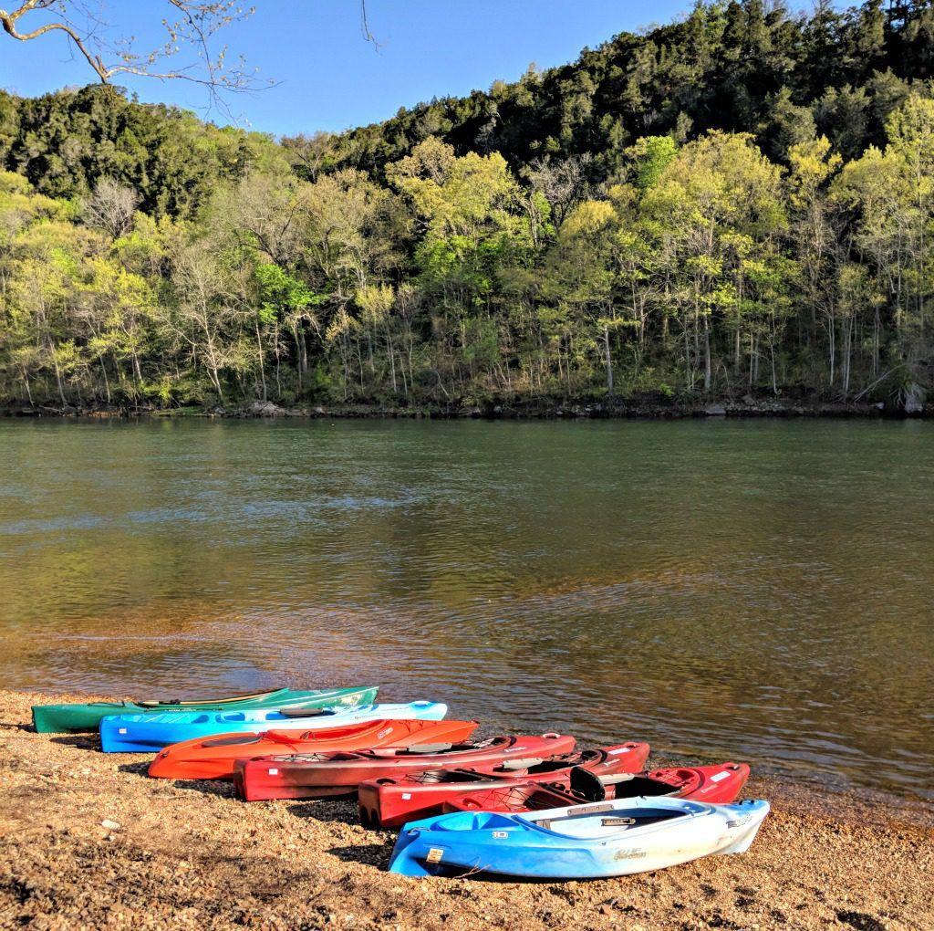 Kayaks on Lake Taneycomo, Branson, Missouri. Photo by Jody Halsted, Halsted Enterprises, Inc.