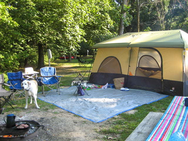 tent camping at Pammel State Park, Winterset Iowa