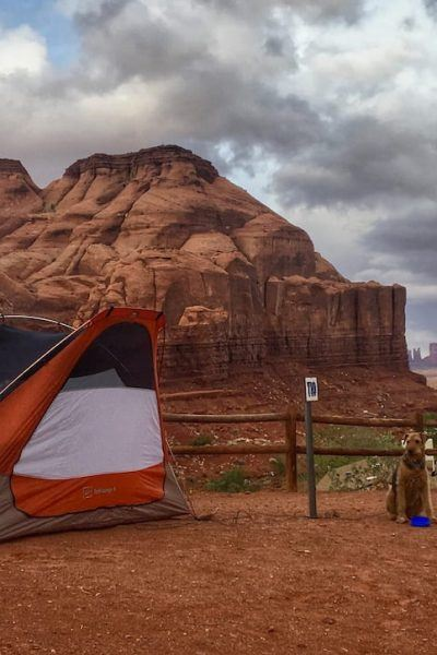 Dog and Tent at Monument Valley, Arizona