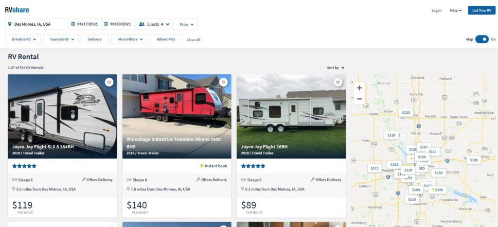 RVshare website booking page select unit